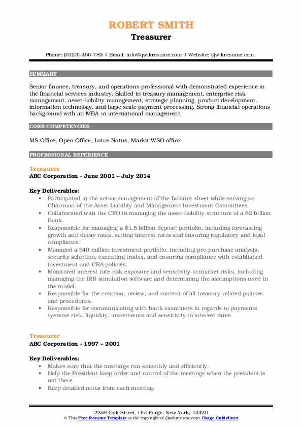 Treasurer Resume Sample