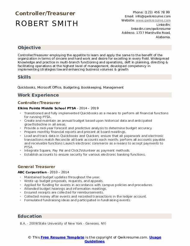 Controller/Treasurer Resume Template