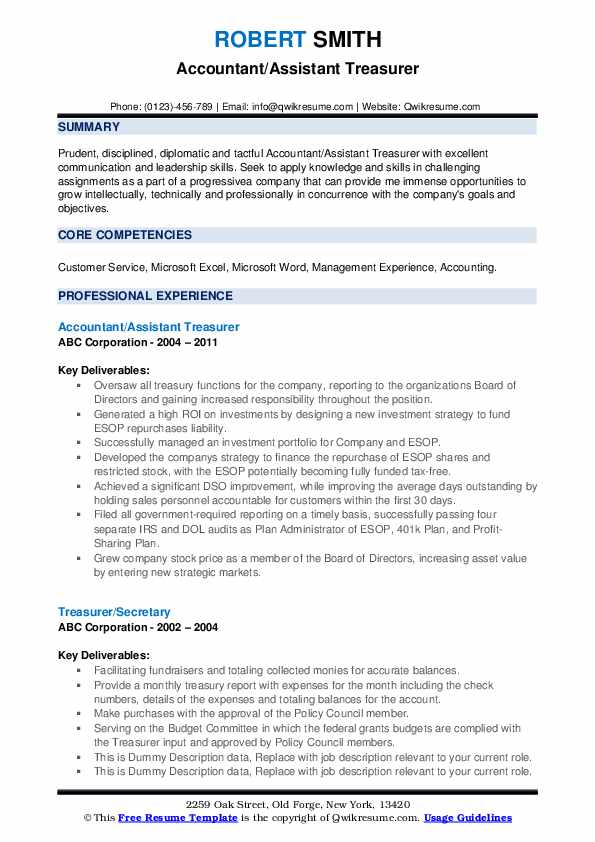 Treasurer Resume Samples Qwikresume