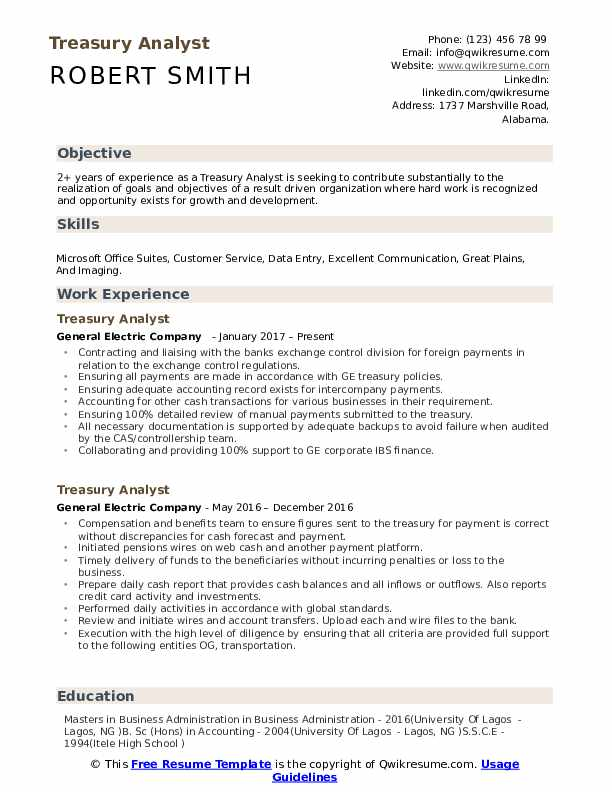 Treasury Analyst Resume Format