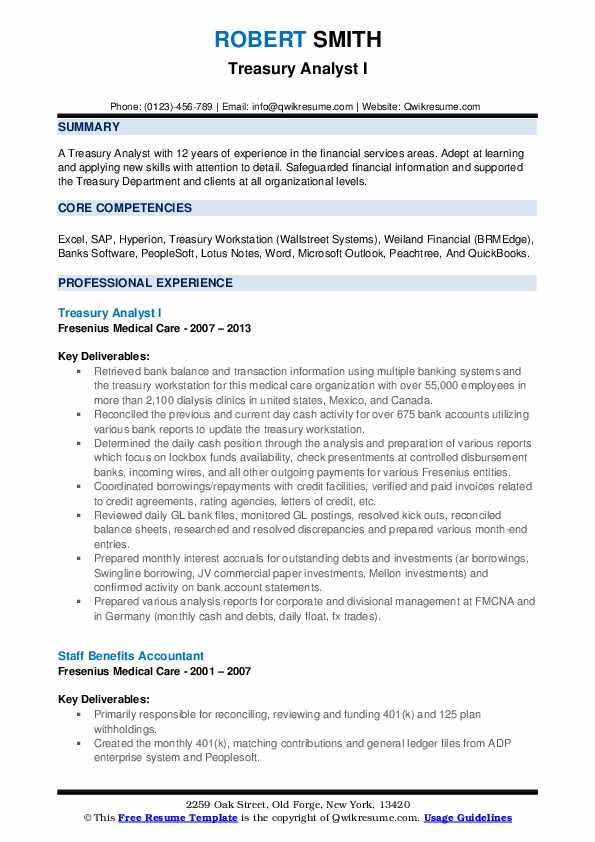 Treasury Analyst I Resume Format