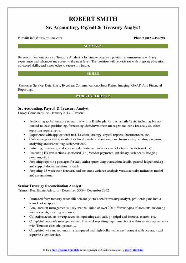 Sr. Accounting, Payroll & Treasury Analyst Resume Sample