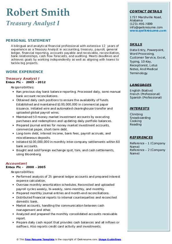 Treasury Analyst I Resume Template