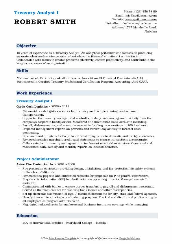 Treasury Analyst I Resume Example