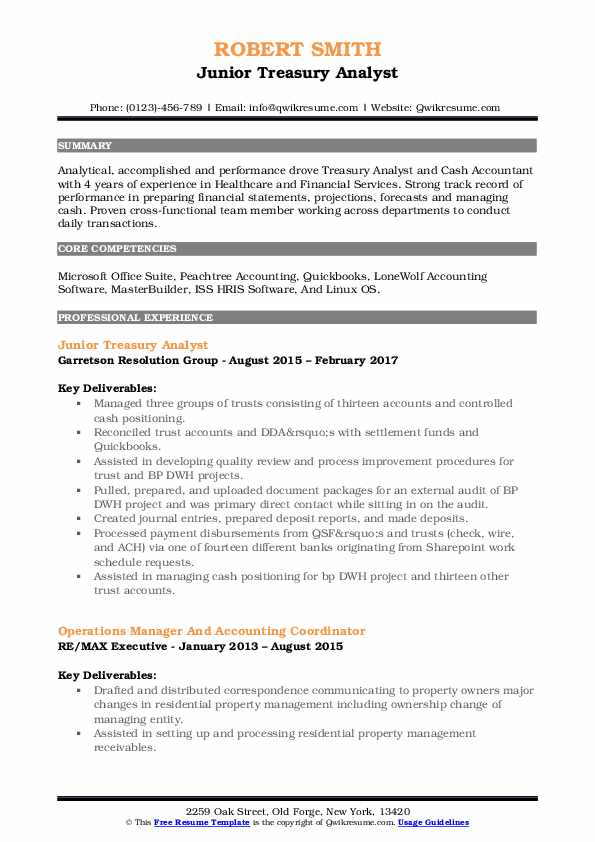 Junior Treasury Analyst Resume Sample