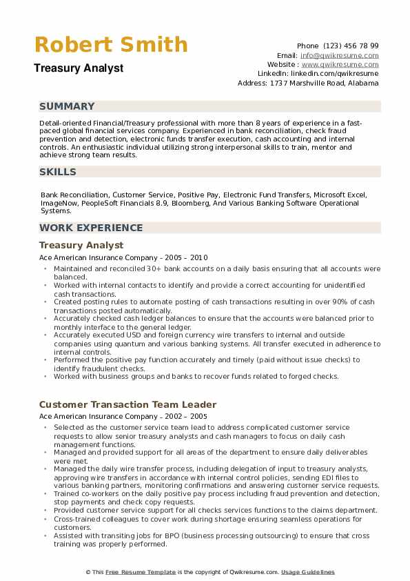 Treasury Analyst Resume example