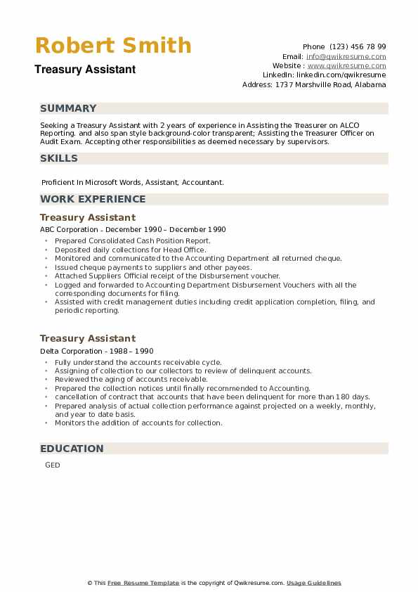 Treasury Assistant Resume example