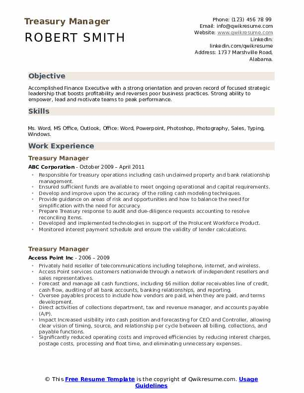 Treasury Manager Resume Samples