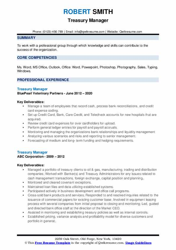 Treasury Manager Resume example