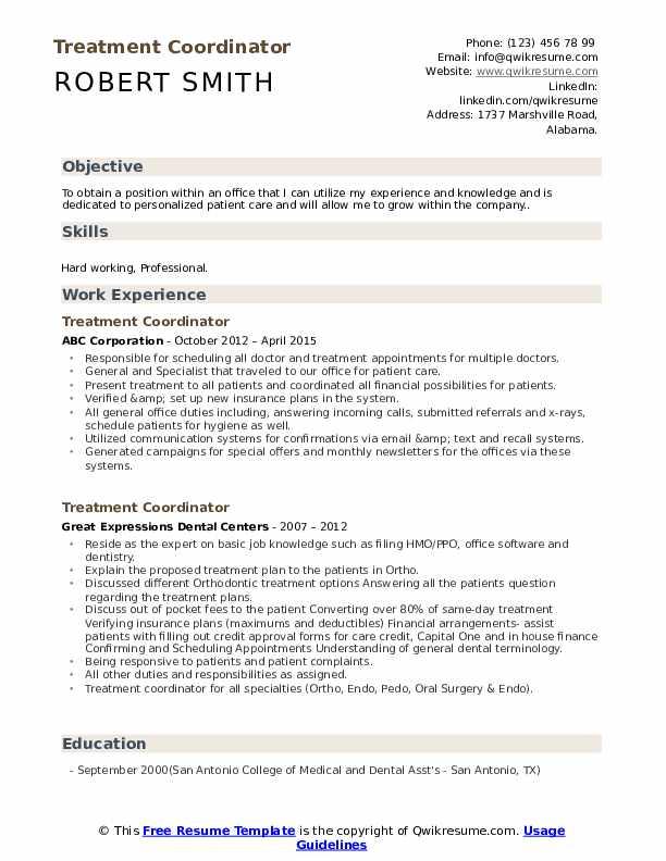 Treatment Coordinator Resume Sample