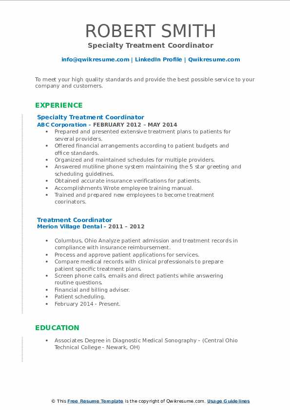 Specialty Treatment Coordinator Resume Model