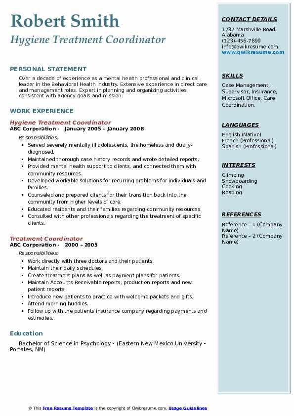 Hygiene Treatment Coordinator Resume Example