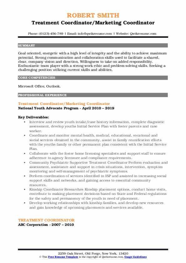 Treatment Coordinator/Marketing Coordinator Resume Example