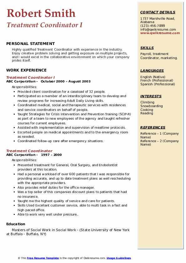 Treatment Coordinator I Resume Model