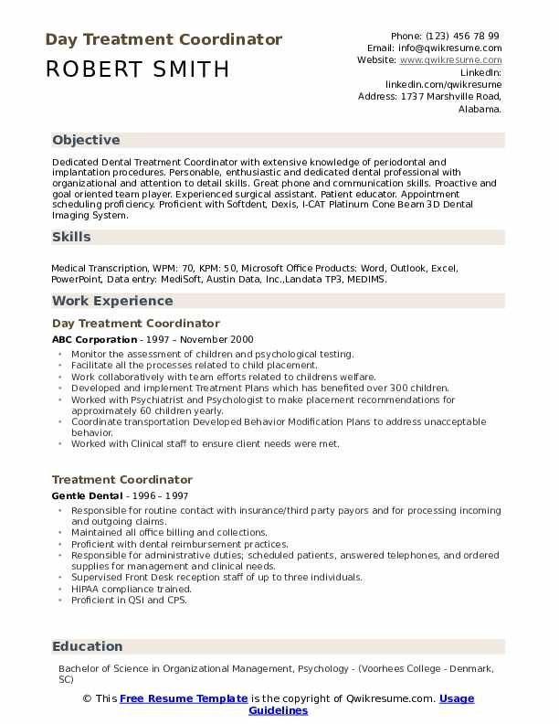 Day Treatment Coordinator Resume Template