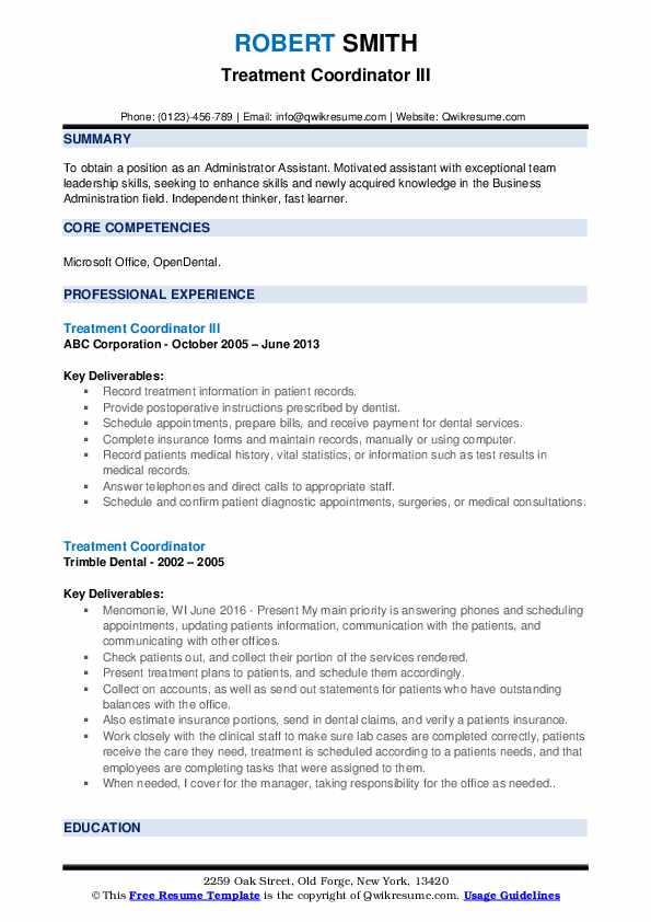 Treatment Coordinator III Resume Example