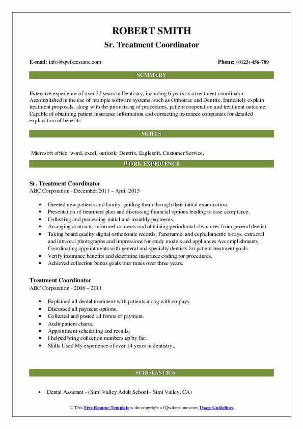 Sr. Treatment Coordinator Resume Template