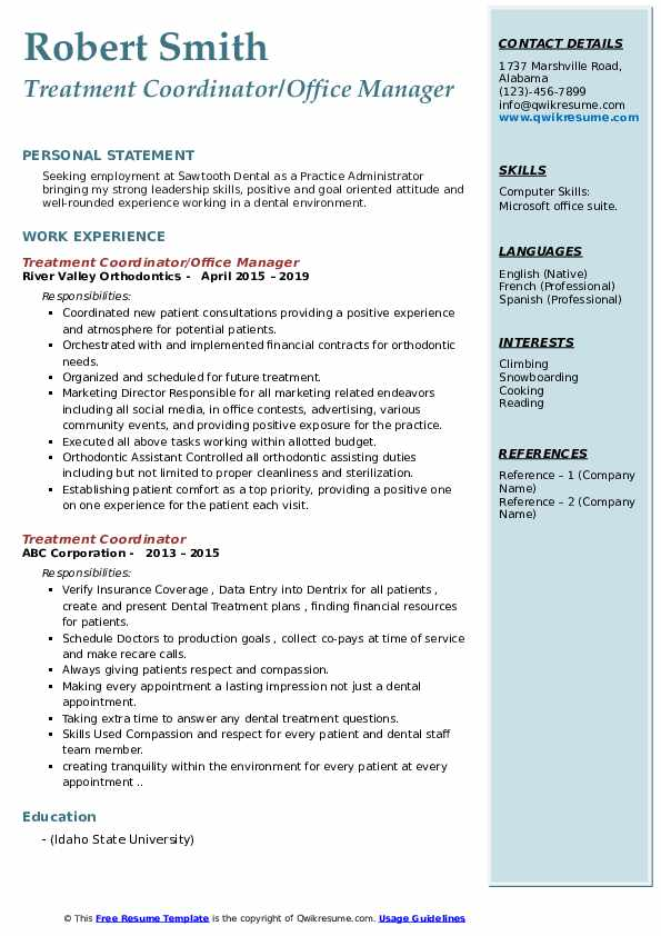 Treatment Coordinator/Office Manager Resume Model