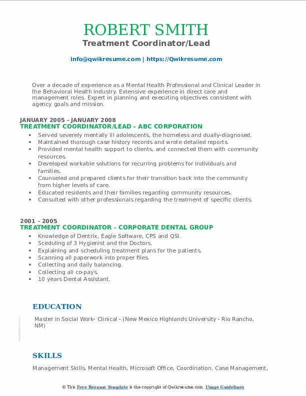 Treatment Coordinator/Lead Resume Model