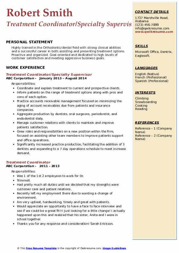 Treatment Coordinator/Specialty Supervisor Resume Sample