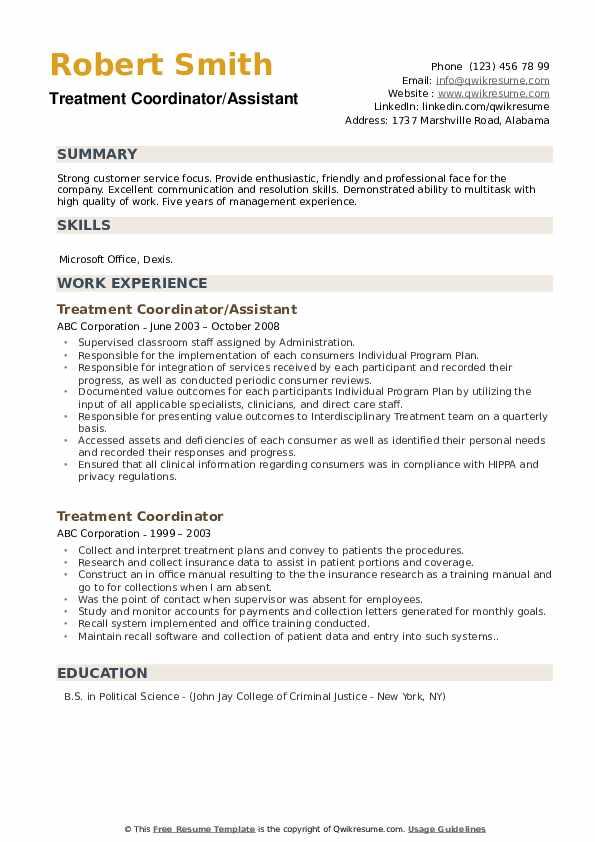 Treatment Coordinator/Assistant Resume Model