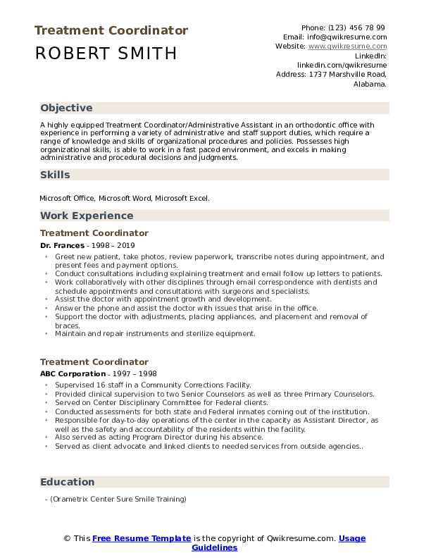 Treatment Coordinator Resume example