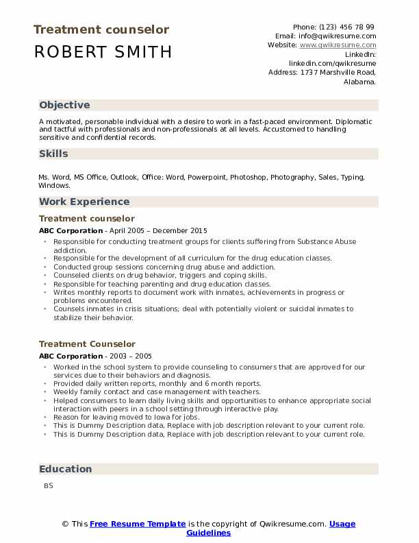 Treatment Counselor Resume example