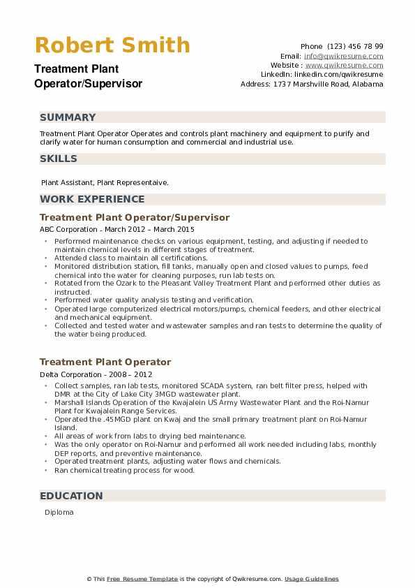 Treatment Plant Operator Resume example