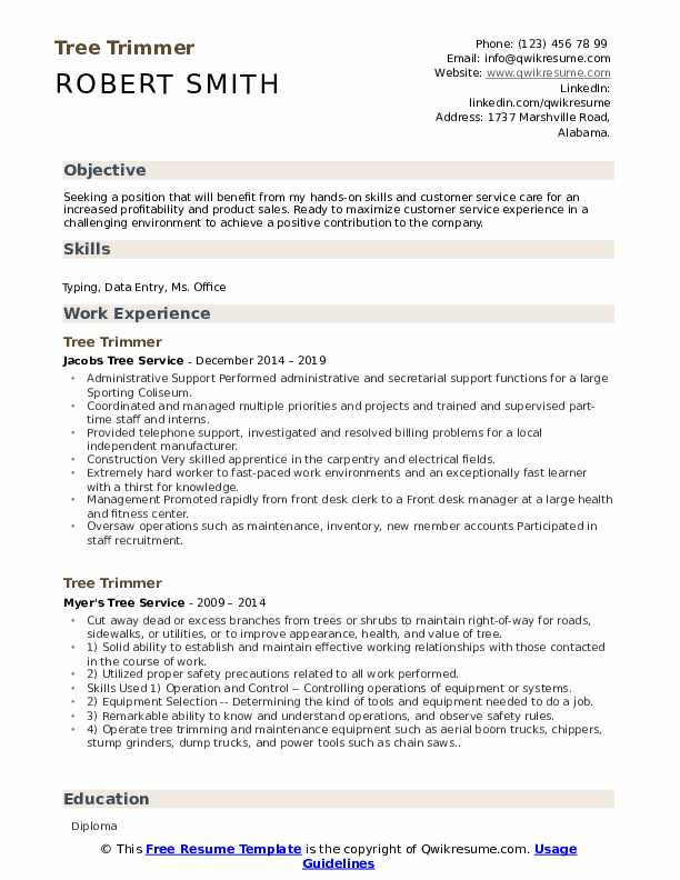 Tree Trimmer Resume Samples Qwikresume