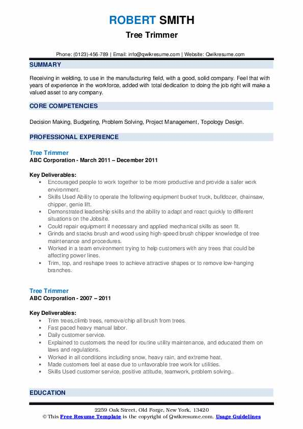 Tree Trimmer Resume example