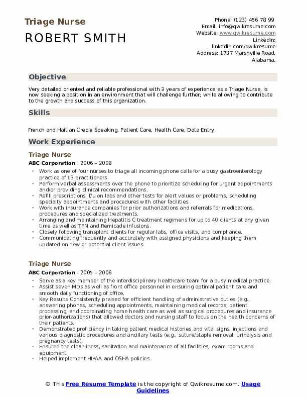 Triage Nurse Resume Model
