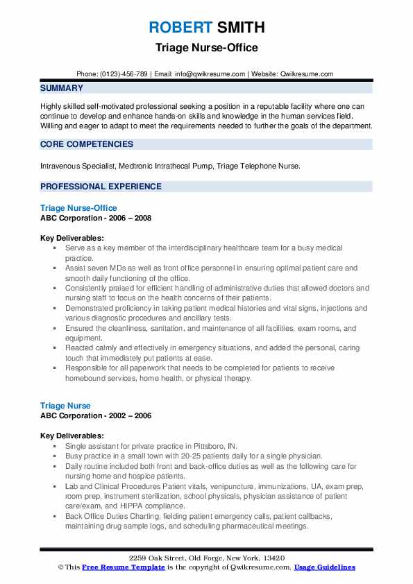 Triage Nurse-Office Resume Format