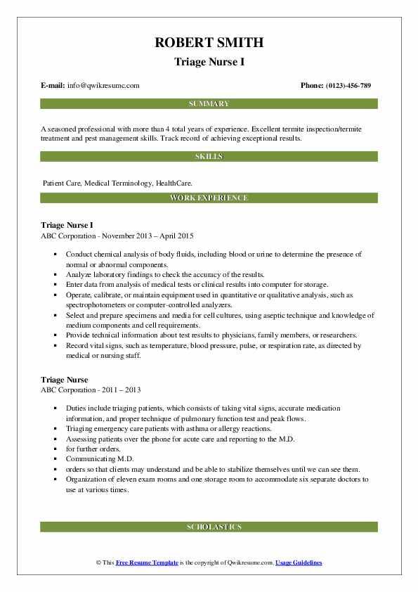 Triage Nurse I Resume Format