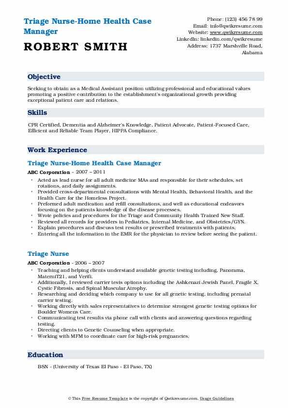 Triage Nurse-Home Health Case Manager Resume Model