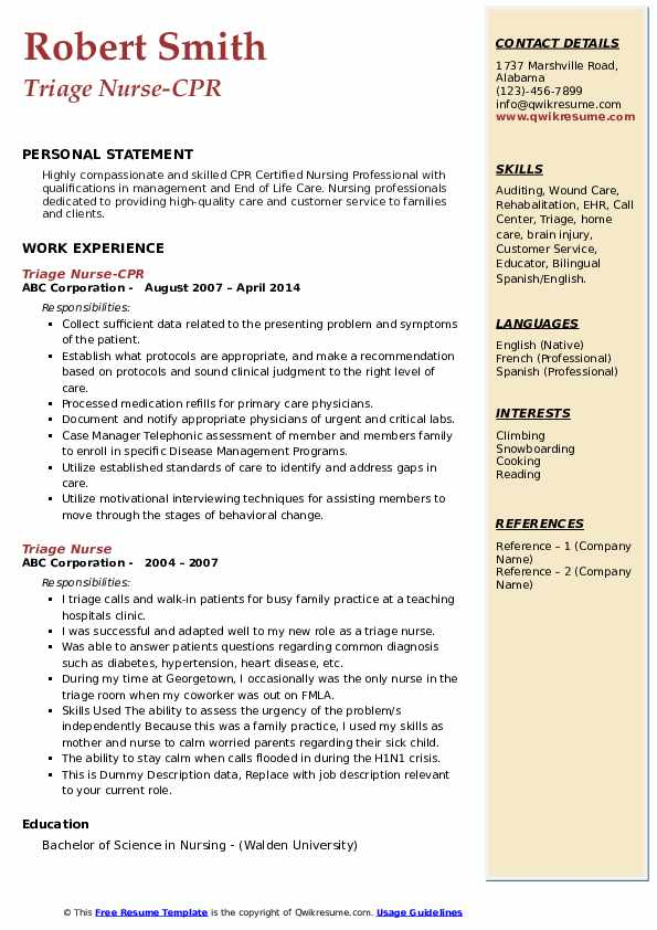 Triage Nurse-CPR Resume Format