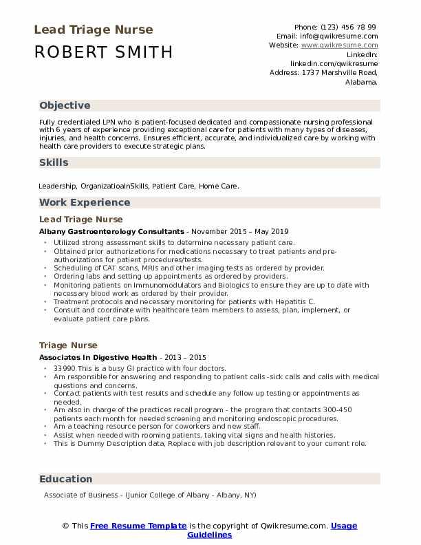 Lead Triage Nurse Resume Template
