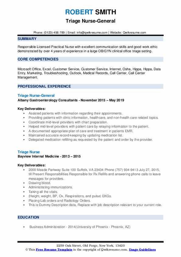Triage Nurse-General Resume Model