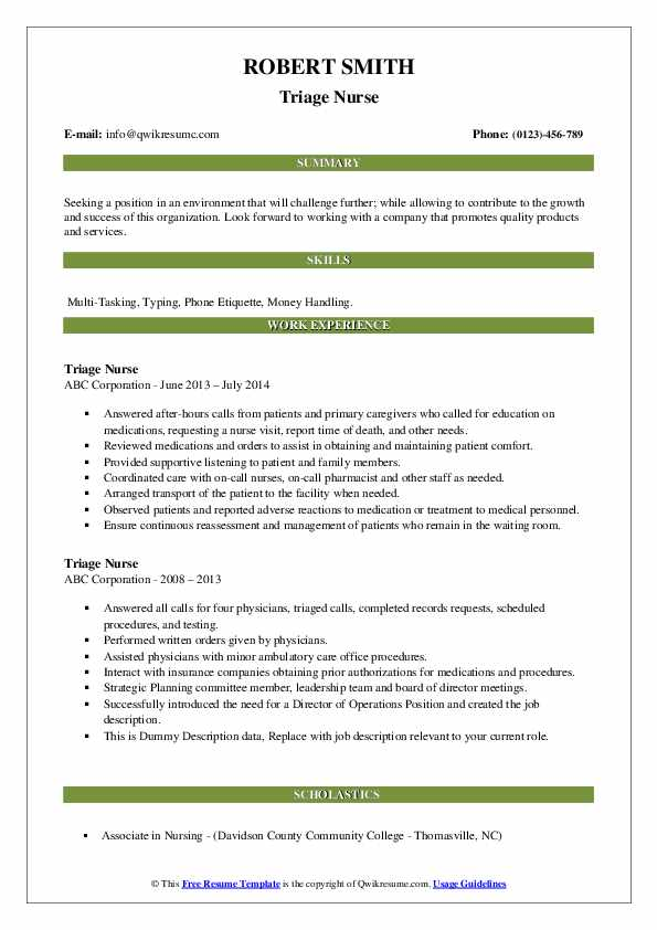 Triage Nurse Resume example