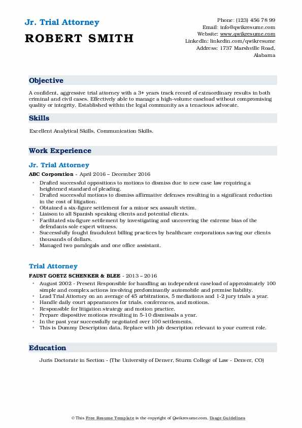 Trial Attorney Resume Samples Qwikresume