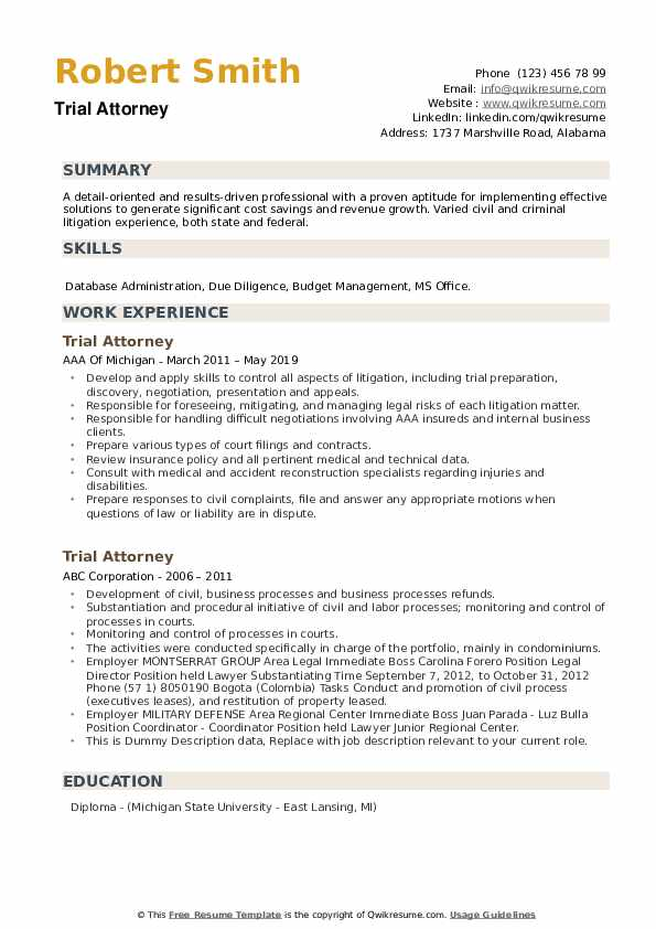 Trial Attorney Resume example