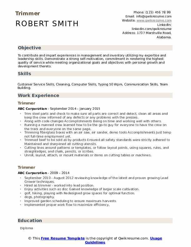 trimmer resume samples