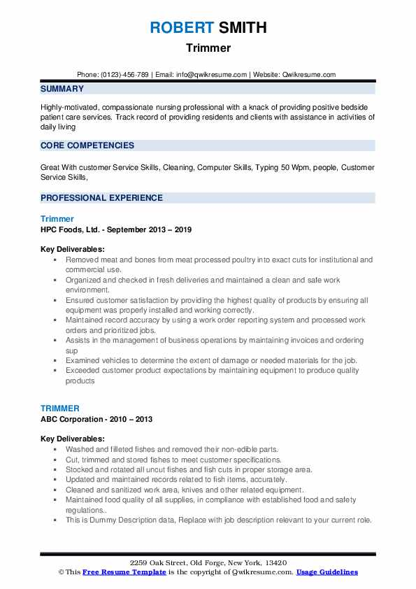 Trimmer Resume example