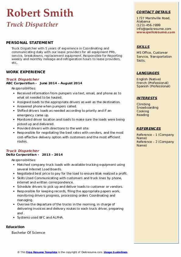 truck dispatcher resume samples  qwikresume