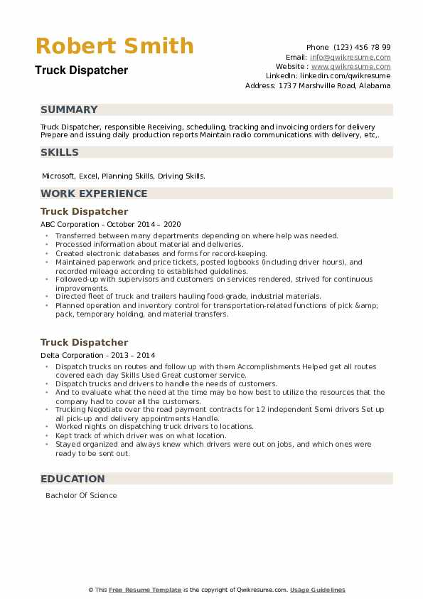 Truck Dispatcher Resume example