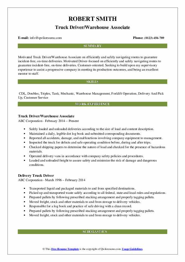 Truck Driver/Warehouse Associate Resume Format