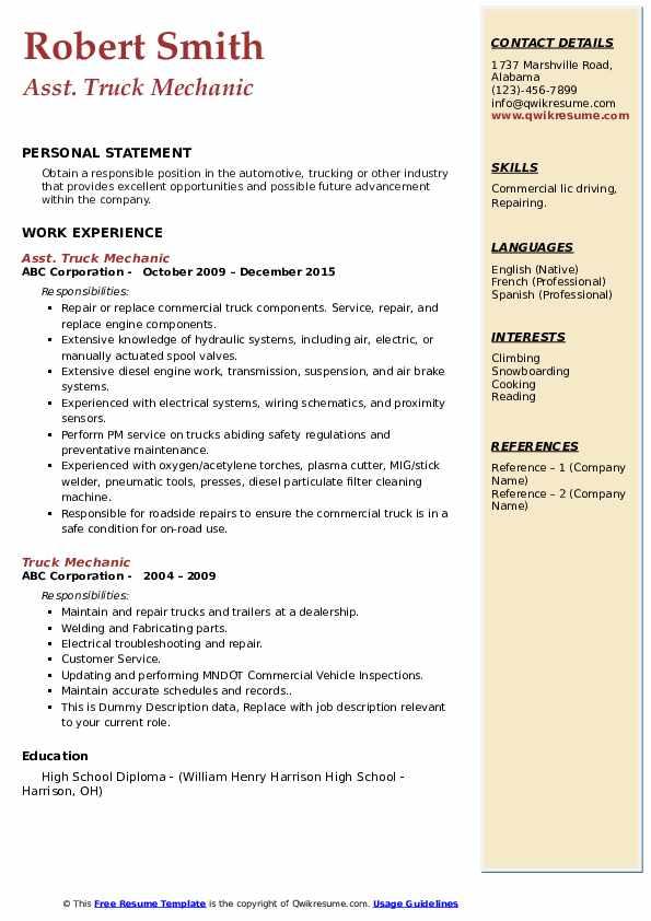 Truck Mechanic Resume Samples | QwikResume
