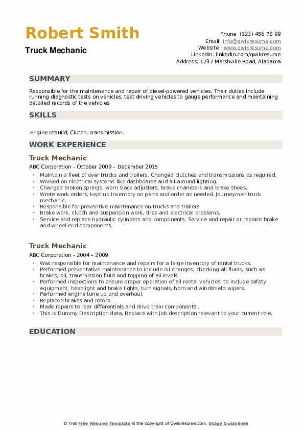 Truck Mechanic Resume example