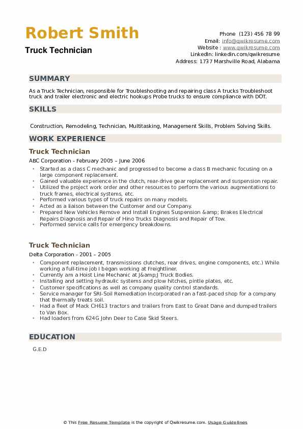 Truck Technician Resume example