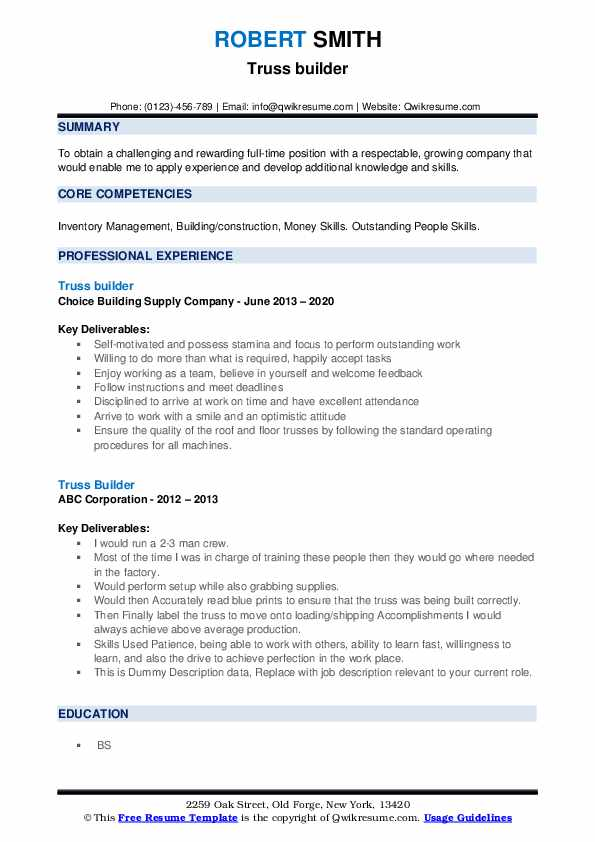 Truss Builder Resume example