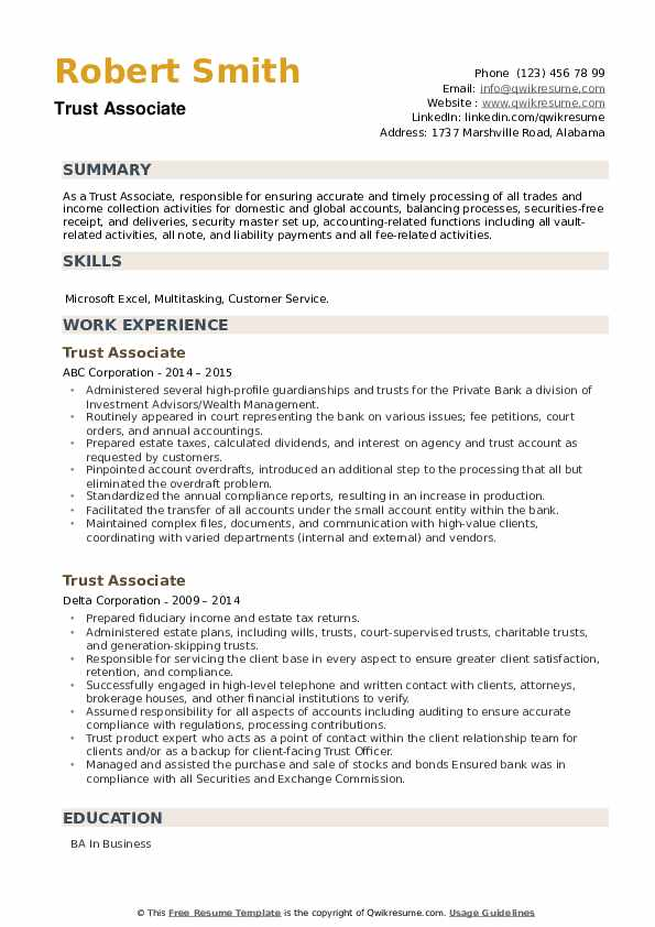 Trust Associate Resume example